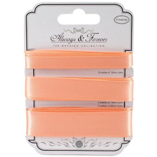 Always & Forever Satin Ribbons - Peach
